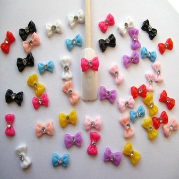Binmer(TM)Hot Selling Nail Art 3D 45 Pieces Mix Bow Rhinestone Sticker for Nails Cellphones Sticker 1.2cm