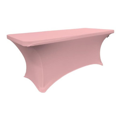 LA Linen TCSpandex96x30x30-PinkLightX37 Rectangular Spandex Tablecloth Light Pink - 96 x 30 x 30 in.