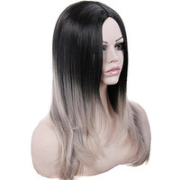 Women's 2 Tones Ombre Grey Wigs Black To Gray Synthetic Wig Long Straight Middle Part None Lace Full Machine Made Heat Resistant Fiber