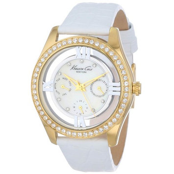 Kenneth Cole KC2793 Women's Crystal Accented Bezel MOP Dial Yellow Gold Steel White Strap Watch