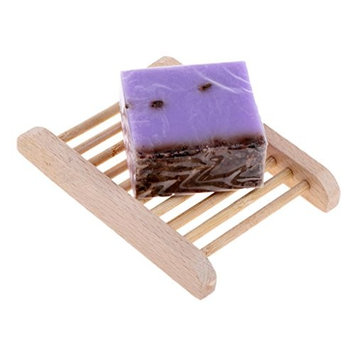 Homyl All NATURAL INGREDIENTS Handmade Face Shower Bath Soap Bar + Wooden Storage Drying Tray Holder Case 100g - Lavender