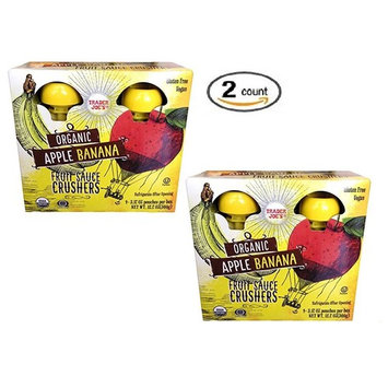 Trader Joe's Organic Fruit Sauce Crusher's - ORGANIC APPLE BANANA Pack Of 2 Boxes (Each Box Contains 4-3.17OZ Pouches - 8 Total)