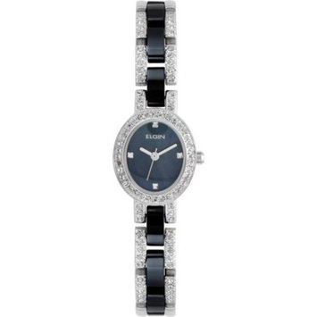 Elgin Women's Two-Tone Silver and Black Ceramic Black Dial Czech Crystal Accented Bracelet Watch