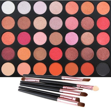 35 Color Eyeshadow Palette with 6 PCS Eye Brushes, Vodisa Makeup Matte and Shimmer Eye Shadows Smoky Warm Color Glitter Kit Make Up Brush Set Waterproof Beauty Cosmetics High Pigment Powder Pallet 35F