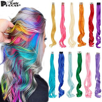 HairPhocas 12 Pcs/set 20 Inch Long Wavy Synthetic Hairpieces Colorful Clip on in Hair Extensions for Party Highlights DIY Hair Decoration