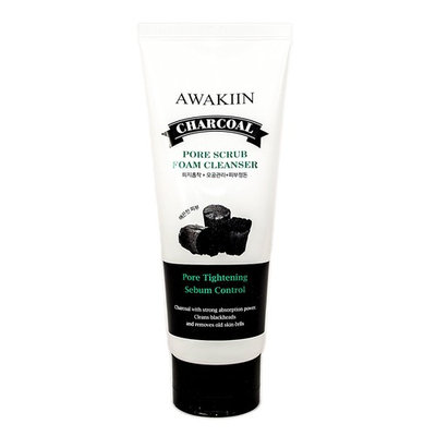 AWAKIIN BEAUTY Korean Skin Care Charcoal Face Wash, Pore Tightening Foam Facial Cleanser Scrub [Pore Scrub Foam Cleanser]