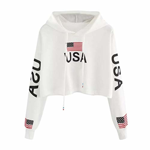 lotus.flower 2018 Women Casual Drop Shoulder American Flag Print Hoodie Sweatshirt Top Blouse