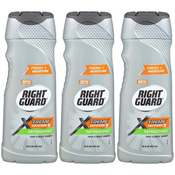 Right Guard Total Defense 5 Body Wash, Refreshing, Bonus size, 16-Ounce (Pack of 3)