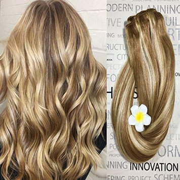 Clip in Hair Extensions Human Hair Dirty Blonde Highlights 16 inch Balayage Ombre Long Hair Extensions Clip on for Fine Hair Full Head 12/613 Straight Soft Remy Hair 70g 7 Hair Piece []