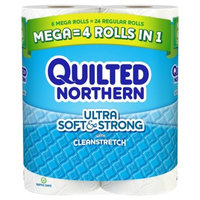 Quilted Northern Ultra Soft & Strong With Cleanstretch Toilet Paper - 6 Mega Rolls