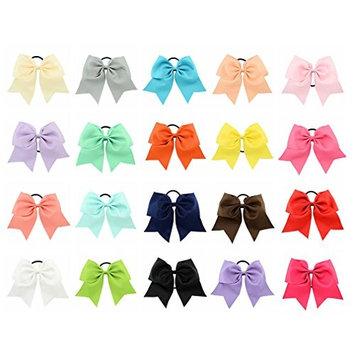 Tobatoba 20 Pack Large Cheer Hair Bows Ponytail Holder Elastic Grosgrain Ribbon Bows Hair Ties For Girls Kids Children Women, 20 Colors