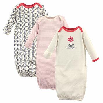 Hudson Baby Newborn Baby Girls' Organic Gowns 3-Pack
