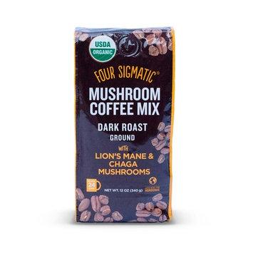 Four Sigmatic Mushroom Ground Coffee, USDA Organic and Fair Trade Coffee with Chaga and Lion's Mane mushrooms Vegan, Paleo, 12 Ounce, Dark roast [Regular (12 oz)]