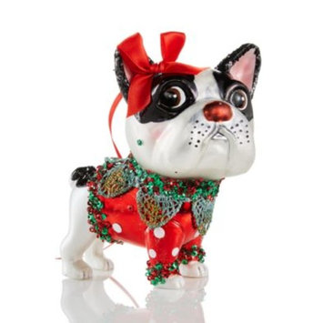 Glass French Bulldog With Bow Ornament, Created for Macy's