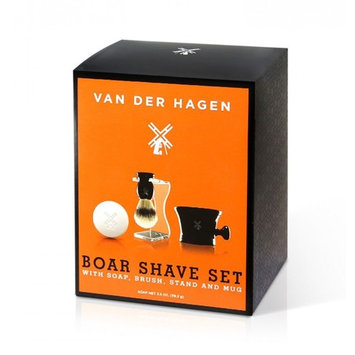 Van Der Hagen 4 Piece Luxury Boar Shave Set, with Soap, Brush, Stand and Mug