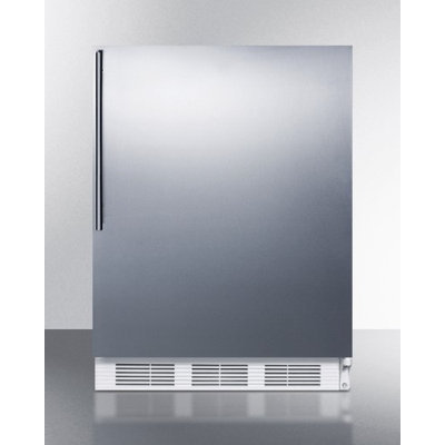 SUMMIT ADA compliant freestanding all-refrigerator with auto defrost, stainless steel door, and thin handle