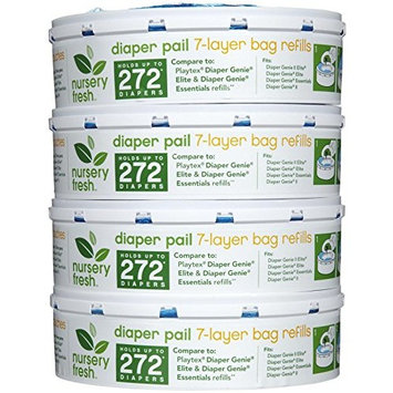 Nursery Fresh Refill for Diaper Genie and Munchkin Diaper Pails, 272 Count, 4 Pack