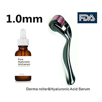 Airblasters Derma Roller Premium Quality Cosmetic Skin Care Tool Kit - Needling Instrument For Face | 540 Titanium MicroNeedle 1.0mm with Hyaluronic Acid