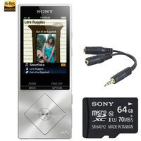 Sony 64GB Hi-Res Digital MP3 Player Silver w/ 64GB Micro SD Card, headphone Splitter
