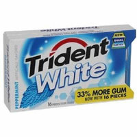 Trident White Peppermint Sugar Free Gum , 16 CT (Pack of 9)