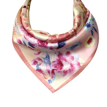 Wrapables® 100% Charmeuse Silk Square Scarf Neckerchief, Pink Peonies