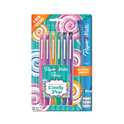 Paper Mate(R) Flair(R) Candy Pop Felt-Tip Markers, 1.0mm, Medium Point, Assorted Colors, Pack Of 12
