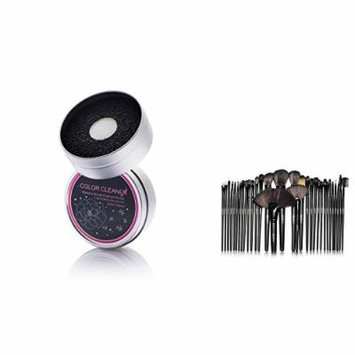 Zodaca 32 Pcs Makeup Brush Set with Pouch Bag + Brush Color Removal Duo Sponge, Swiftly Switch /Remove Shadow Color, Black