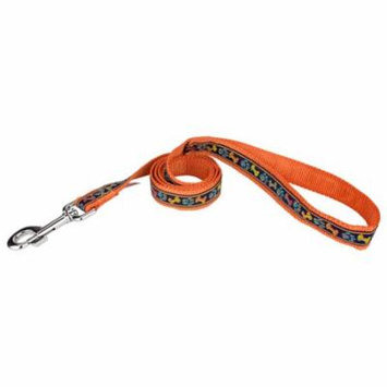 Country Brook Design® 1 Inch Plaid Bones And Paws Ribbon on Orange Dog Leash Limited Edition - 6 Foot
