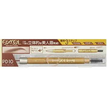 EXCEL Powder & Pencil Eyebrow PD10 Pink Brown