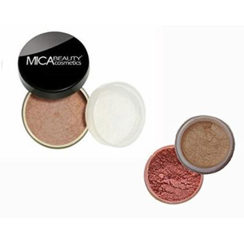 Bundle 3 Items: Mica Beauty Mineral Loose Powder foundation 9 Gram + Itay Mineral Cosmetics Matching Blush and Itay Highlights Elegance #1 (MF-15 NUTMEG)