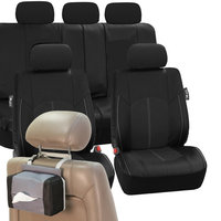 Fh Group Faux Leather Car Seat Covers Luxury Set Black Free Gift Tissue Dispenser