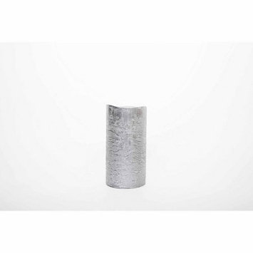 Theamazingflamelesscandle Metallic Collection Flameless Pillar Candle, 6 H x 3 W x 3 D, Silver