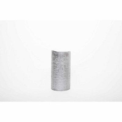 Theamazingflamelesscandle Metallic Collection Flameless Pillar Candle, 6 H x 3 W x 3 D, Silver