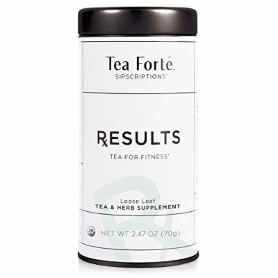 Tea Forté SIPSCRIPTIONS RESULTS Organic Fitness Tea with Senna Leaf and Fennel, Loose Leaf Green Tea & White Tea, 2.47 Oz Tea Tin
