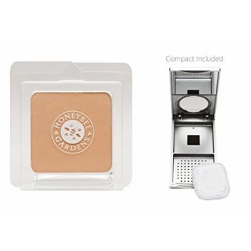 Honeybee Gardens Malibu Pressed Mineral Powder Foundation (0.26 oz) with Silver Mirrored Compact and Flocked Cotton Puff, Vegan and Eco-Friendly