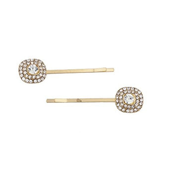 Lux Accessories Goldtone and Pave Rhinestone Square Post Hair Clip Pin Set 2pc