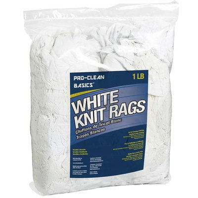 Pro-Clean Basics White Recycled T-Shirt Cloth Rags: 1 lb. Bag
