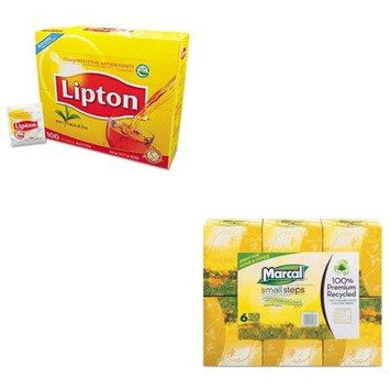 KITLIP291MRC4034 - Value Kit - MarcalPro Recycled White Facial Tissue in Fluff-Out Boutique Box (MRC4034) and Lipton Tea Bags (LIP291)