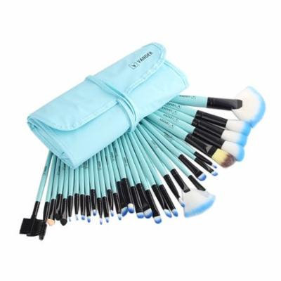 High End 32 Pcs Horse Hair Professional Makeup Brush Set with Pouch, BLUE