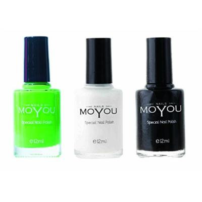 MoYou Nails Stamping Nail Polish Pack of 3: Black, White, Atlantic Green (Maleficence) Colours used for Stamping Nail Art to Create Beautiful Shinny and Fashionable Nails Sourced Directly from the Manufacturer
