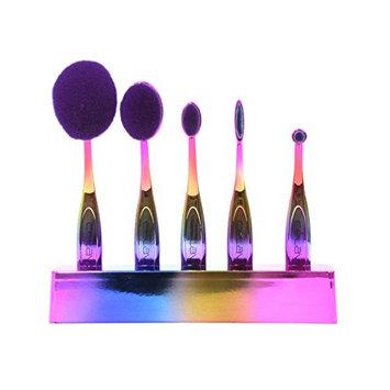 Celavi Rainbow Oval Makeup Brush Professional Cosmetic Tools for Face, Foundation, Creams, Liquids, Moisturizer, Powder, Blush, Concealer, Contour (5 brush set)