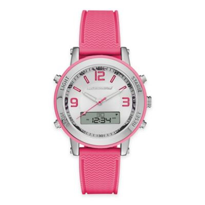Skechers® Ladies' 38mm Analog-Digital Watch in Silver with Pink Polyurethane Strap