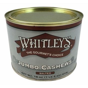 Whitley's Jumbo Cashews Salted 18 Oz.
