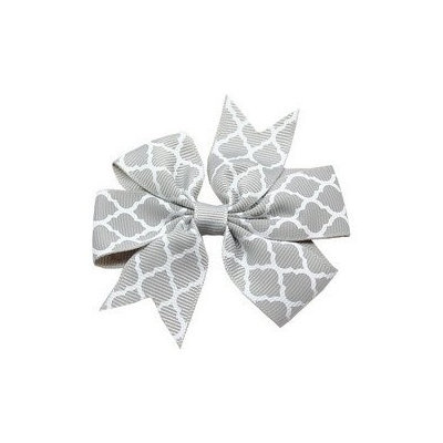 Mirage Pet Products Hair Bow Quatrefoil French Barrette Grey
