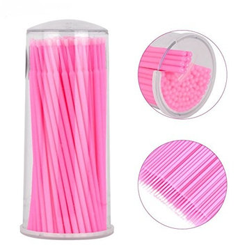 Mingyan 400Pcs Disposable Mascara Wand Applicator Micro Brushes Individual Eyelash Extension Microbrushes (Pink)