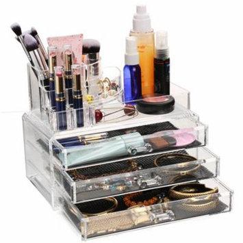Acrylic Makeup Organizer Cosmetic Jewerly Display Box 3 Large Drawers Storage Holder