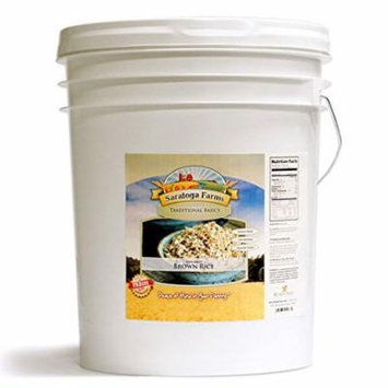 Saratoga Farms Long Grain Brown Rice ValueBUCKET, 5-Gallon Bucket, 30lbs (13kg), 154 Total Servings, Dehydrated, Food Storage, Cooking, Every Day Use