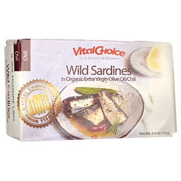 Wild Sardines in Organic Extra Virgin Olive Oil/Chili 4.4 Ounce (124 grams) Can