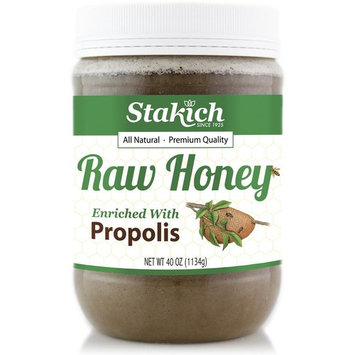 Stakich PROPOLIS Enriched RAW HONEY 40-OZ - 100% Pure, Unprocessed, Unheated -