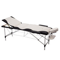 All Goodly Aluminium 3-Fold Portable Massage Table w Carry Case (WHITE & BLACK)